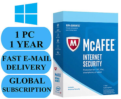 McAfee Internet Security 1 PC 1 YEAR (ACCOUNT SUBSCRIPTION) 2019 NO KEY CODE!!!