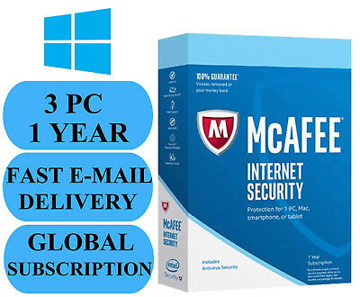 McAfee Internet Security 3 PC 1 YEAR (ACCOUNT SUBSCRIPTION) 2020 NO KEY CODE!!!
