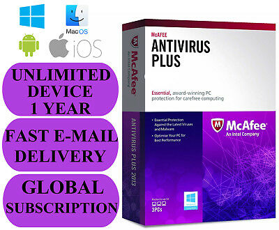 McAfee Antivirus Plus UNLIMITED DEVICE 1 YEAR (SUBSCRIPTION) 2020 NO KEY CODE