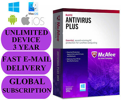 McAfee Antivirus Plus UNLIMITED DEVICE 3 YEAR (SUBSCRIPTION) 2020 NO KEY CODE
