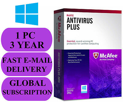 McAfee Antivirus Plus 1 PC 3 YEAR (ACCOUNT SUBSCRIPTION) 2020 NO KEY CODE!!!