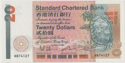 Banknote 1985 Hong Kong $20 showing dragon in turtle shell in aEF condition