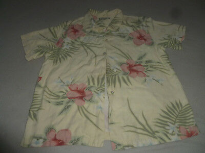 Vintage Tommy Bahama Silk Hawaiian Womans Shirt Size Xl Frond Leaves Button Up >