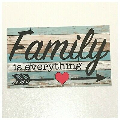 Family Is Everything Sign Wall Plaque or Hanging Retro Chic Heart Arrow Love