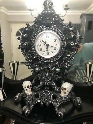 Vintage Victorian Gothic Antique Skull Clock Imported USA.