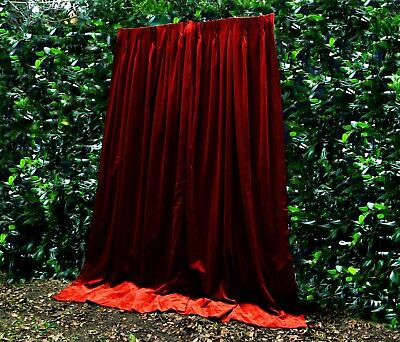 Rust/brick Red Soft Thick Genuine Vintage Velvet Curtains Theatre Portierre Shop