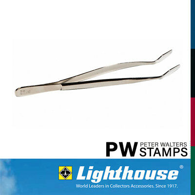 Lighthouse Stamp Tweezers / Tongs 12cm Bent Spade Tip with Sleeve