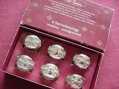 WMF Antique Rose Hildesheim Rose 90 Silver Plated 6 Napkin Rings