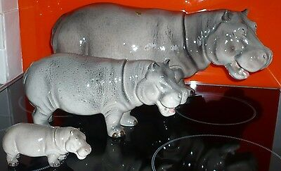 Family of 3 Hippopotamus Super rare together. Largest 16 inches long, Excellent.