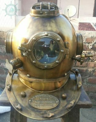 "Antique US Navy Mark V Diving Divers Helmet Solid Steel Full Size 18"" Vintage"