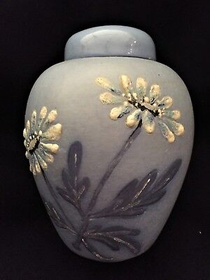 Delf Blue with White Hand-painted Flowers Lidded Ginger Jar