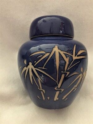 Vintage Rich Blue Lidded Ginger Jar with Etched Bamboo Leaves