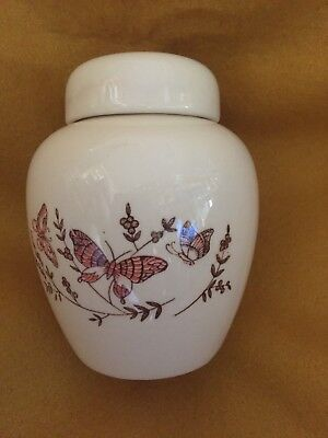 Vintage Cream with Butterflies Lidded Ginger Jar