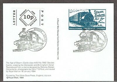 Bodmin & Wenford Railway 10p stamp used on PPC with Talyllyn Railway label