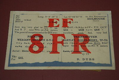 Early Mulhouse France QSL EF8FR Postcard from 1929