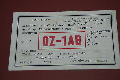 Early Auckland New Zealand QSL OZ1AB Postcard from 1928