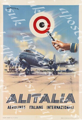 Vintage 1950/'s Lufthansa German Airlines Poster A3 Print