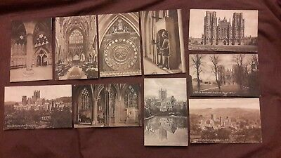 10 x Old postcards of Wells Cathedral, Somerset - Lightfoot's Clock, Chapter Hou