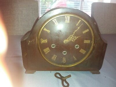 Smiths Enfield Westminster Chime Mantle Clock with key spares or repair antique