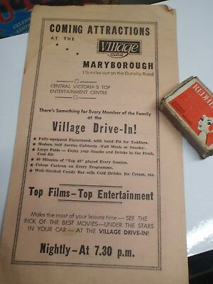 1960's  Village Drive In Programme  Maryborough  vic.