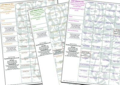 100 x A4 `Last Minute Try` Rugby League Fundraising Raffle Ticket, Scratch Cards