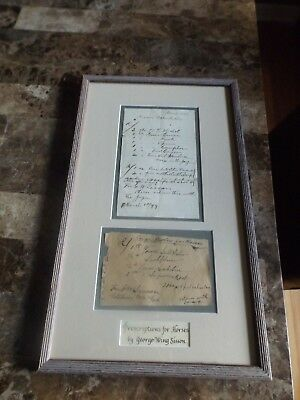 George Wing Sisson Custom Framed Horse Prescriptions March 1899 Pain Cough