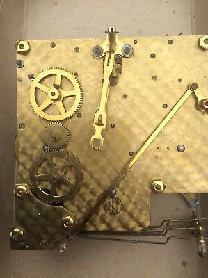 Large Vintage Brass Chiming Mantel Clock Movement - Steampunk