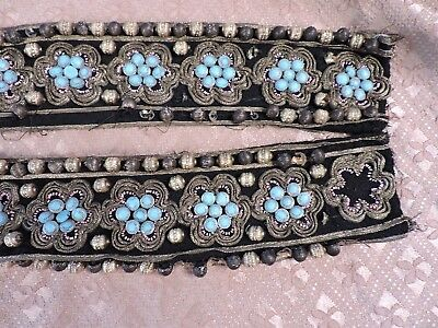 Antique Victorian 19Th C Gold & Turquoise Bead Dress Trim