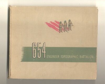 Vintage US Army 654th Engineer Topographic Battalion Book HB WWII 1945 Original