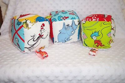 Dr. Seuss Cat in the Hat Sensory Soft Blocks New Handmade