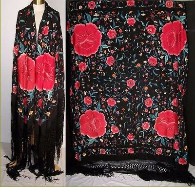 1920's SILK PIANO SHAWL FLORAL ROSE EMBROIDERED CANTON SCARF WRAP ANTIQUE VTG