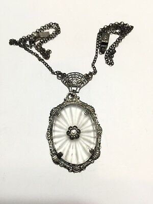 Antique Art Deco Sterling Silver Filigree Frosted Camphor Glass Pendant Necklace