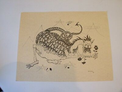 """Collectible Lithiograph On Parchment Of A Dragon By B. Nichols 8 1/2""""x11"""" Print"""