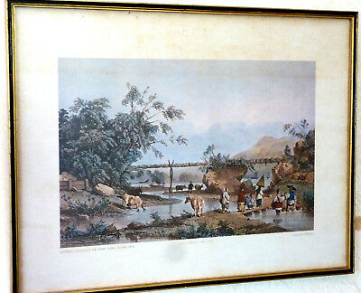 12 VINTAGE FRAMED CHINESE PRINTS 1838-1839 by Auguste Borget 1808-1877