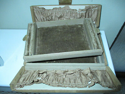 Antique Vintage Jewellery Display Empty BoxSuede Leather with Tray
