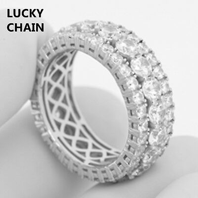 925 STERLING SILVER ICED OUT LAB DIAMOND RING 12g