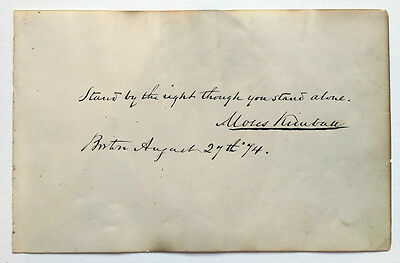 MOSES KIMBALL - Autograph & Quote - P. T. Barnum's Partner - FEJEE MERMAID FREAK