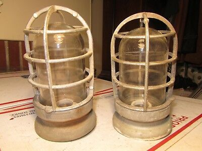 (2) Vinage Industrial Crouse - Hinds Glass Lighting Explosion Proof UNTESTED