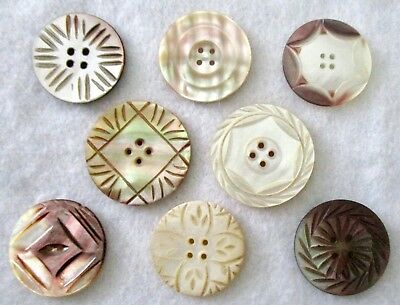 #7 Lot of 8 Vintage Buttons- Carved Mother of Pearl/ Shell