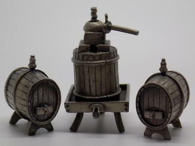 Vintage Solid Silver Italian Made Wine Barrels Miniatures, Figurine, Stamped