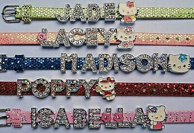 Personalised Girls Buckle Bracelet Bangle Wristband Crystal Letters Colour Choic