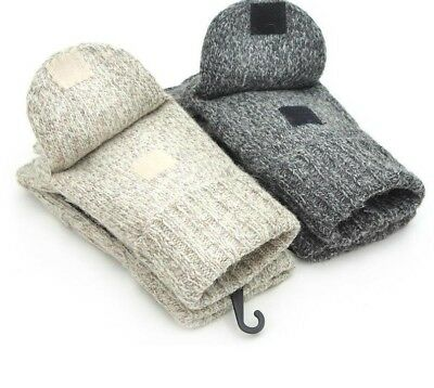 Warm Wool Mittens Gloves Leather Palm Full Finger Unisex Hand Wrists Accessories