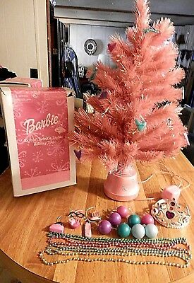 PINK BARBIE Christmas Tree Fiber Optic Crown Topper Extra Ornaments Free Ship