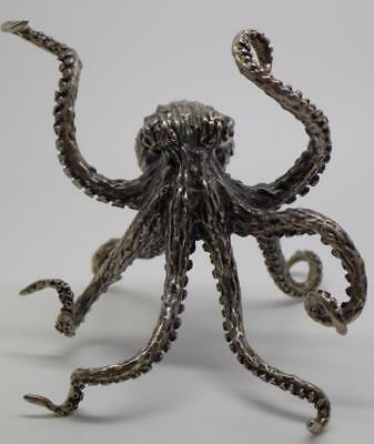 Vintage Solid Silver Italian Made LARGE Octopus Miniature, Figurine, Stamped