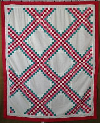 Gorgeous! Vintage 30-40s Red, Pink, & Green Irish Chain QUILT TOP Ready to Quilt