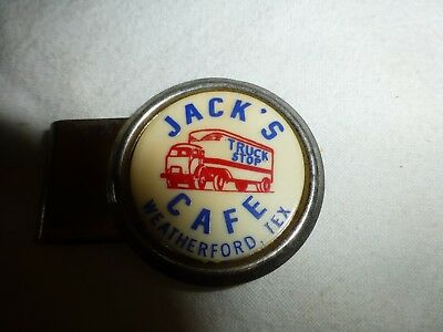 "1950S Money Clip-Advertising ""jack's Cafe-Weatherford, Texas"" Truck Stop"
