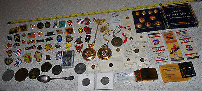 Lot of Vintage & Recent Military Related Items Pins Tokens Pocket Watches Other