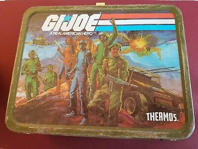 GI Joe 1982 Hasbro Metal Lunch Box with Matching Thermos Fast Shipping