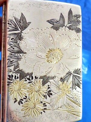Antique Estate Silver Sterling Mixed Metals Japan Signed 950 Silver Case Box