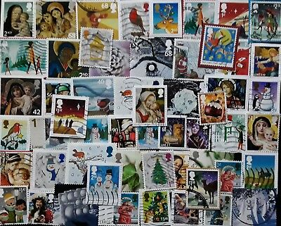 GB Kiloware 50 x Used Christmas inc many High Values 2001-2017 On & Off Paper